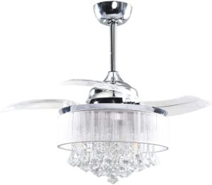 Modern Crystal Ceiling Fan with Remote Control Retractable 3 Blade Ceiling Fan with Lights Inversible Chandelier Fan, 3 Edison Bulbs, Not Included, Chrome