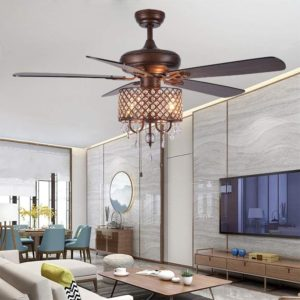 Rustic Ceiling Fan with Crystal Light Home Indoor Quiet Fan Light Reversible Wood Blades Ceiling Fan Chandelier Bedroom Living Room Family Ideal Crystal Fan Light New Bronze 52Inch