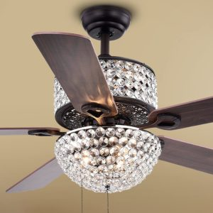 Warehouse of Tiffany CFL8170BL Laure Crystal 6Light 52inch Ceiling Fan 52W x 52L x 20H Multicolor
