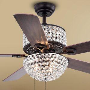 Warehouse of Tiffany CFL8170BL Laure Crystal 6Light 52inch Ceiling Fan 52W x 52L x 20H Multicolor