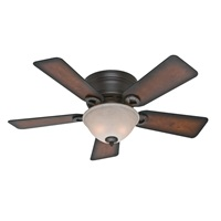 Hunter Fan Company 51023 Hunter Conroy Indoor Low Profile Ceiling Fan with LED Light and Pull Chain Control, 42 inch Onyx Bengal