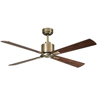 Lucci Air 210522010 Climate 4 Blade Indoor DC Motor Ceiling Fan with Remote Control 52 inch, Antique Brass with Walnut