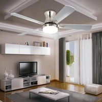 LuxureFan 52 inch Indoor Flush Mount Ceiling Fan with Led Light with 5 Wood Blade