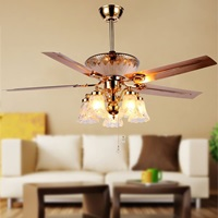 RainierLight Modern Ceiling Fan Remote Control 5 Reversible Metal Blades 5 Frosted Glass Light Kit for Indoor