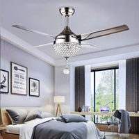 Tropicalfan Crystal Modern Ceiling Fan Remote Control Home Decoration Living Room Fans Chandeliers