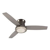 Harbor Breeze Sail Stream 52-in Brushed Nickel Flush Mount Indoor Ceiling Fan with Light Kit and Remote (3-Blade)