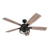 Honeywell Ceiling Fans 50614-01 Carnegie LED Ceiling Fan 52 inch, Indoor, Rustic Barnwood Blades, Industrial Cage Light, Matte Black