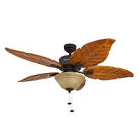 Honeywell Sabal Palm 52-Inch Tropical Ceiling Fan with Sunset Bowl Light, Five Hand Carved Wooden Leaf Blades, Lindenwood Basswood, Bronze