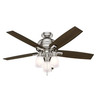 Hunter Fan Company 53338 Hunter 52 Donegan Brushed Nickel Ceiling Fan with Light, White