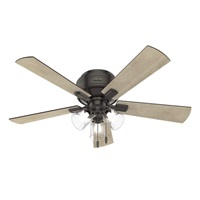 Hunter Fan Company 54208 Crestfield Indoor Low Profile Ceiling Fan with LED Light and Pull Chain Control, 52 inch, Noble Bronze