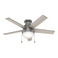 Hunter Fan Company 59270 Hunter Anslee Indoor Low Profile Ceiling Fan with LED Light and Pull Chain Control 46 Matte Silver