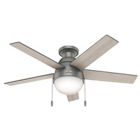 Hunter Fan Company 59270 Hunter Anslee Indoor Low Profile Ceiling Fan with LED Light and Pull Chain Control 46 inch Matte Silver