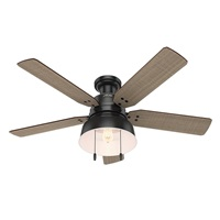 Hunter Indoor Outdoor Low Profile Ceiling Fan with light and pull chain control Mill Valley 52 inch, Black, 59310