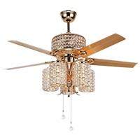 LuxureFan 52 Crystal Ceiling Fan Light Fixtures 5 Lights 5 Metal Rose Gold Blade Crystal WhisperWind Motor Led Chandelier Decoration Home Living Room Bedroom