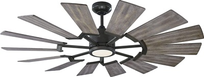 Monte Carlo 14PRR52AGPD Prairie II Windmill Energy Star 52 Outdoor Ceiling Fan with LED Light and Hand Remote Control, 14 Wood Blades, Aged Pewter