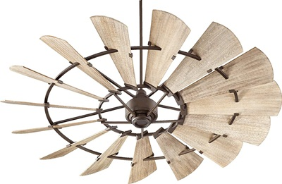 Quorum 97215-86 Indoor Windmill Ceiling Fan in Oiled Bronze with Weathered Oak Blades