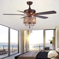 Rustic Ceiling Fan with Crystal Light Home Indoor Quiet Fan Light Reversible Wood Blades Ceiling Fan Chandelier Bedroom Living Room Family Ideal Crystal Fan Light, New Bronze, 52-Inch