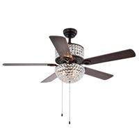 Warehouse of Tiffany CFL 8170BL Laure Crystal 6 Light 52 inch Ceiling Fan 52 W x 52 L x 20 H Multicolor