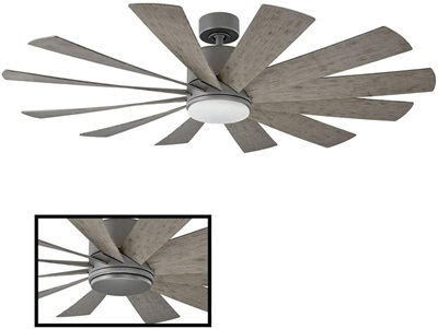 Windflower Indoor or Outdoor 12-Blade Smart Ceiling Fan 60in Graphite with 3000K LED Light Kit and Wall Control works