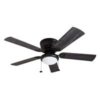 Prominence Home 50853 Benton Hugger Low Profile Ceiling Fan 52 Gray Cedar Blades LED Globe Light Matte Black